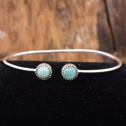 Natural Larimar Gemstone Cuff Bangle 925 Sterling Silver Women Handcrafted Bangle Silver Jewellery