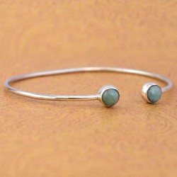Natural Larimar Gemstone Cuff Bangle 925 Sterling Silver Adjustable Bangle 925 Stamped Jewellery