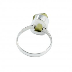 Natural Lemon Quartz Rough Gemstone Ring 925 Sterling Silver Birthstone Ring Manufacture Silver Jewelry