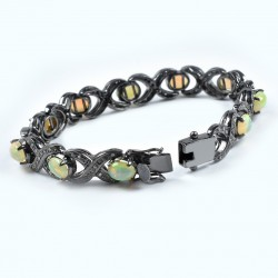 Natural Opal Diamond Bracelet 925 Sterling Silver Black Rhodium Plated Handmade Jewelry Gift For Her