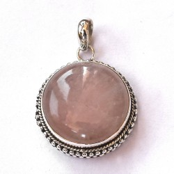 Natural Pink Rhodochrosite Pendant Round Shape 925 Sterling Silver Pendant Jewelry Gift For Her