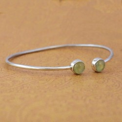Natural Prehnite Gemstone Cuff Bangle 925 Sterling Silver Indian Manufacture Silver Jewellery