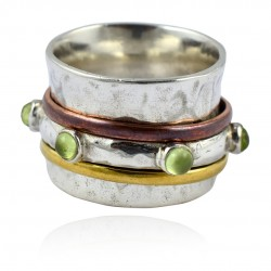 Natural Prehnite Gemstone Ring 925 Sterling Silver Spinner Band Ring Handmade Oxidized Silver Jewelry