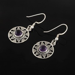 Natural Purple Amethyst 925 Sterling Silver Earring Handmade Jewelry