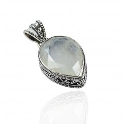 Natural Rainbow Moonstone Pendant 925 Sterling Silver Pendant Handcrafted Wholesale Silver Jewelry