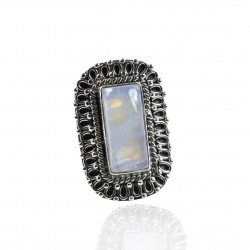 Natural Rainbow Moonstone Ring Handmade 925 Sterling Silver Ring Solid 925 Silver Manufacture Jewellery