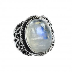 Natural Rainbow Moonstone Ring Solid 925 Sterling Silver Ring Handcrafted Silver Jewellery