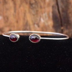 Natural Red Garnet Gemstone Cuff Bangle 925 Sterling Solid Silver Adjustable Bangle Jewellery