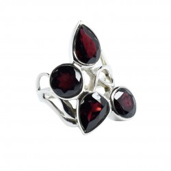 Natural Red Garnet Ring Solid 925 Sterling Silver Boho Ring Handmade Silver Jewellery