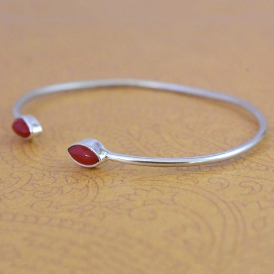 Natural Red Onyx Gemstone Cuff Bangle 925 Sterling Silver Handmade Wholesale Silver Jewellery Suppliers