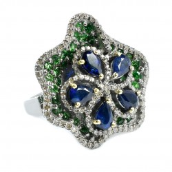 Natural Sapphire Emerald Diamond Ring Handmade Solid 925 Sterling Silver Boho Ring Rhodium Plated Silver Jewelry