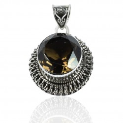 Natural Smoky Quartz Gemstone Pendant Solid 925 Sterling Silver Manufacture Silver Jewelry Gift For Her