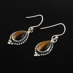 Natural Tiger Eye Earring 925 Sterling Silver Boho Earrings Jewelry Gift For Her