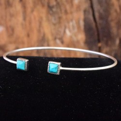 Natural Turquoise Gemstone Cuff Bangle 925 Sterling Solid Silver Wholesale Silver Jewellery