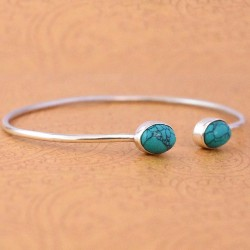 Natural Turquoise Gemstone Cuff Bangle Solid 925 Sterling Silver Handmade Silver Bangle Jewellery