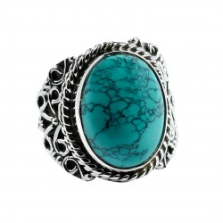 Natural Turquoise Gemstone Ring Handmade Solid 925 Sterling Silver Ring Boho Jewelry Gift For Her