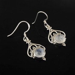 Natural White Rainbow Moonstone Earrings 925 Sterling Silver Drop Dangle Earring Jewelry