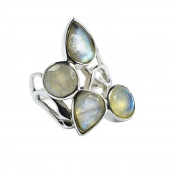 Natural White Rainbow Moonstone Ring Solid 925 Sterling Silver Ring Women Fashion Jewellery