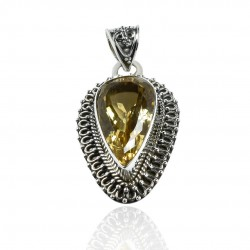 Natural Yellow Citrine Gemstone Pendant Antique Silver Pendant Solid 925 Sterling Silver Handmade Boho Jewelry