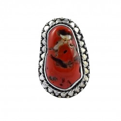 Oxidized Silver Ring Red Coral Gemstone Ring Handmade Solid 925 Sterling Silver Ring Indian Artisan Ring Jewelry