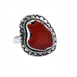 Oxidized Silver Ring Red Coral Rough Gemstone Ring Handmade Silver Ring 925 Sterling Silver Ring Jewelry Gift For Her