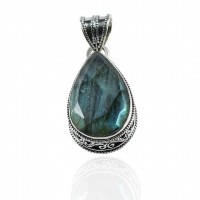 Pear Shape Labradorite Gemstone Pendant Solid 925 Sterling Silver Handmade Oxidized 925 Stamped Silver Jewelry