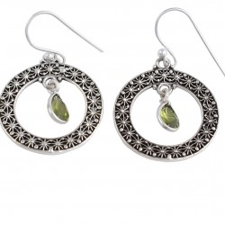 Peridot Dangle Hook Earring Solid 925 Sterling Silver Handmade Oxidized Silver Jewelry Gift For Her