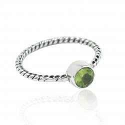 Peridot Gemstone Band Ring 925 Sterling Silver Handmade Wedding Ring 925 Stamped On Jewelry