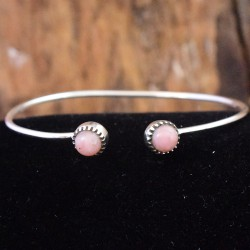 Pink Opal Gemstone Cuff Bangle 925 Sterling Silver Handmade Indian Women Fashion Bangle Jewelry