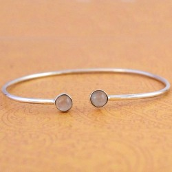 Pink Rose Quartz Gemstone Cuff Bangle 925 Sterling Silver Handmade Silver Bangle Women Jewelry