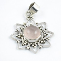 Pink Rose Quartz Pendants 925 Sterling Silver Pendants Handmade Silver Jewelry Oxidized Silver Jewelry