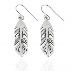 Plain 925 Sterling Silver Earring Handmade Drop Dangle Earring Leaf Shape Ear wire Earring Women Jewelry