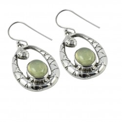 Prehnite Gemstone 925 Sterling Silver Handmade Silver Oxidized 925 Stamped Earring Jewelry Anniversary Gift For Her
