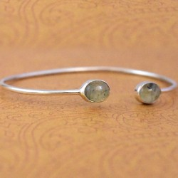 Prehnite Gemstone Cuff Bangle 925 Sterling Silver Manufacture Silver Bangle Jewelry