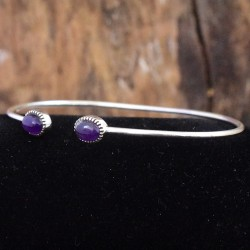 Purple Amethyst Gemstone Cuff Bangle 925 Sterling Silver Bangle Indian Women Fashion Jewelry