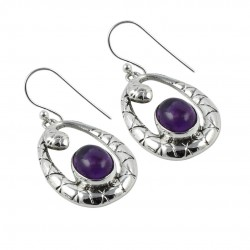 Purple Amethyst Gemstone Earring Solid 925 Sterling Silver Earring Handmade Silver Jewelry Gift For Her