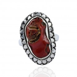 Red Coral Gemstone Ring 925 Sterling Silver Ring Handmade Oxidized Silver Ring Jewelry 925 Stamped Jewelry Gift For Her