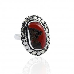 Red Coral Gemstone Ring Handmade Manufacture Silver Ring Solid 925 Sterling Silver Ring Oxidized Boho Jewelry