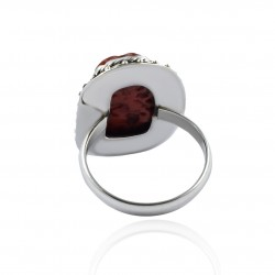 Red Coral Rough Gemstone Ring Handmade Solid 925 Sterling Silver Ring Handmade Oxidized Silver Ring Jewellery