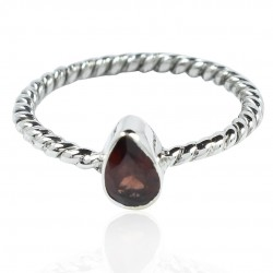 Red Garnet Ring 925 Sterling Solid Silver Engagement Ring Boho 925 Stamped On Jewelry