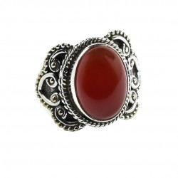 Red Onyx Solitaire Ring Solid 925 Sterling Silver Ring Handmade Boho Ring Birthstone Ring Jewelry