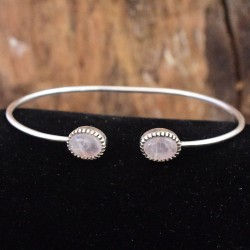 Rose Quartz Gemstone Cuff Bangle 925 Sterling Silver Adjustable Cuff Bangle Handmade 925 Stamped Jewellery