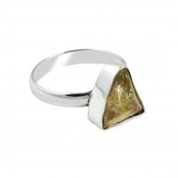 Rough Citrine Gemstone Ring Solid 925 Sterling Silver Ring Indian Artisan Handcrafted Ring Jewelry