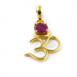 Ruby Gemstone Pendants 14k Carat Gold Pendants Handmade Jewelry Indian Religious Jewelry Gift For Her