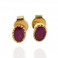 Ruby Gemstone Stud Push back Earrings 14k Carat Gold Earring Jewelry Women Earring Jewellery