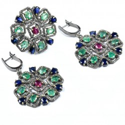 Sapphire Ruby Emerald Black Diamond Jewelry Set Solid 925 Sterling Silver Handmade Rhodium Plated Jewelry Sets Gift For Her