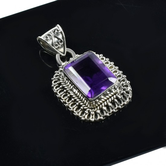 Square Shape Amethyst Gemstone Pendant Handmade Solid 925 Sterling Silver Oxidized Silver Jewelry
