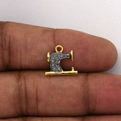 Swing Machine Pave Diamond Gold Plated 925 Sterling Silver Charms Pendants Manufacture Silver Jewellery
