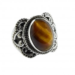 Tiger Eye Gemstone Ring Solid 925 Sterling Silver Oxidized Ring Handmade 925 Stamped Ring Jewelry