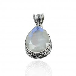 White Rainbow Moonstone Pendant Solid 925 Sterling Silver Handmade Boho Pendant Jewelry Gift For Her